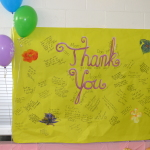 thank you banner signed by staff