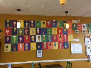 Photo of Kindergarten's art project hanging on the wall at T.C. Scoops. (Photo courtesy of T.C. Scoops)