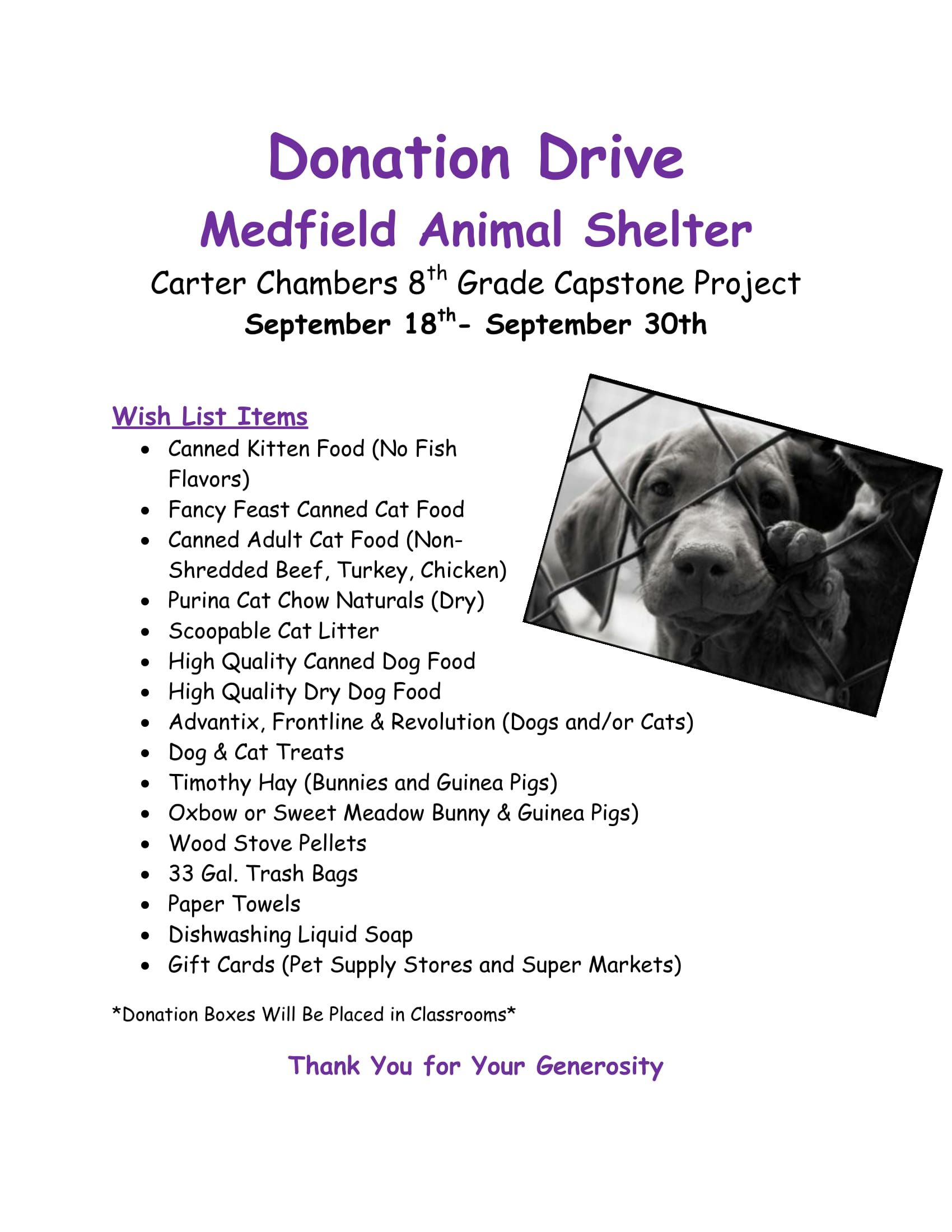 Animal Shelter Pillow Donation : Capstone: Medfield Animal Shelter Donations (through 9/30)BFCCPS